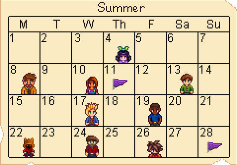 Fall Calendar Stardew.Calendar Stardew Valley Wiki